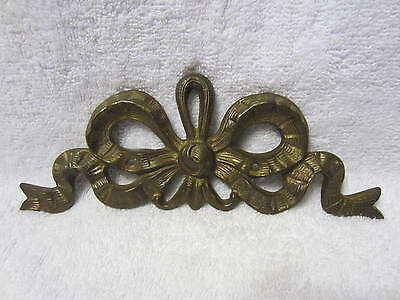 French Pediment Architectural Salvaged Furniture Wall Brass Bow Garland Mount