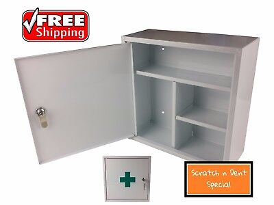 First Aid Medical Cabinet Kit Medicine Box Steel Lock Key Solid Chest Sd