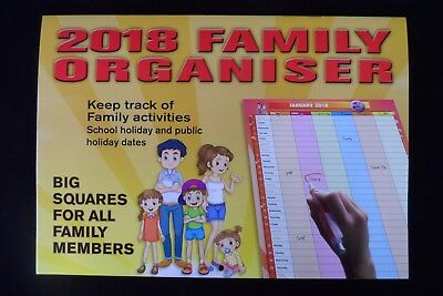 2018 FAMILY ORGANISER - Large Vertical Columns - Big HD Print - Free Fast Post