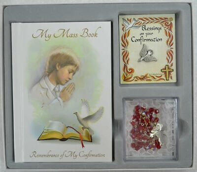 Confirmation Gift Set, BOY, Mass Book, Dove Lapel Pin & Rosary