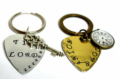 Doctor Who, Time Lord, Companion Tardis, Hand Stamped Keychain Set, Dr Who Gift,