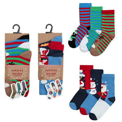 Childrens Boys Girls Christmas Novelty Socks With Gift Tag - 3 Pack Cotton Rich