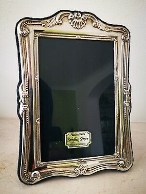 BEAUTIFUL SOLID SILVER  SCROLL HALLMARKED  PHOTO FRAME 14cm BY 10cm