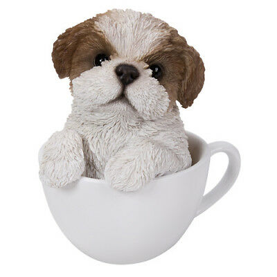 "Shih Tzu Teacup Puppy Dog Collectible Figurine Miniature 5.5""H New"