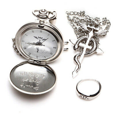 US Cosplay Alloy Alchemist Edward Elric Pocket Watch Cross Snake Necklace Ring
