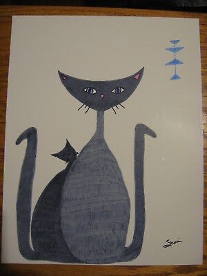 """Original Mid Century Modern 2 Gray Cats Drawing 11"""" x 14"""" Poster Board Signed"""