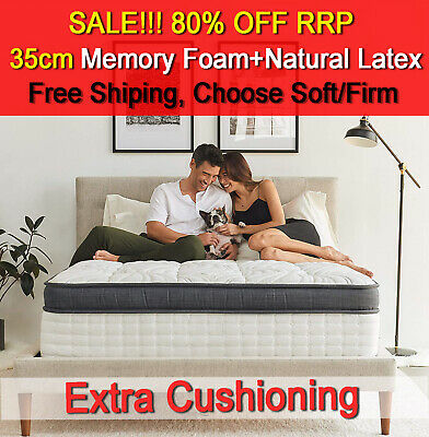 35cm Euro Top Pocket Spring Mattress Memory Foam+Latex Queen Double King Single