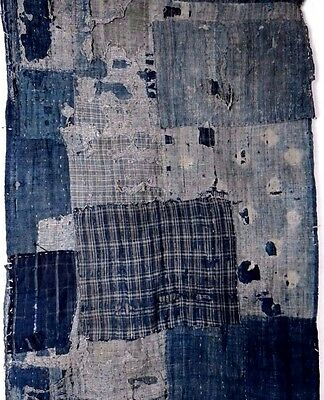 "丸屋 60"" x 24"" Antiqie Boro Indigo Dyed Ranru Rug Patched Japanese Cotton Fabric"