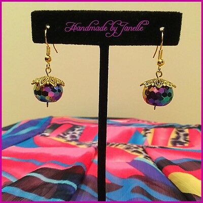 Multi Coloured Glass & Gold Plated Facet Ball Drop Earrings Handmade