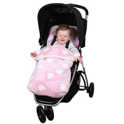 Clair de Lune Plush Heart Pushchair Footmuff, Pink