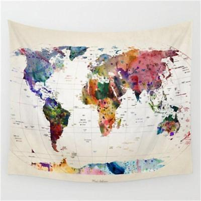World Map Indian Tapestry Wall Hanging Hippie Mandala Bedspread Throw Dorm Decor