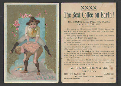 1880s McLAUGHLINS XXXX COFFEE + KIDS LEAPFROG + ADVERTISING VICTORIAN TRADE CARD