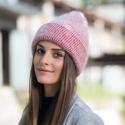 Womens Solid Color Cashmere Beanie Hat Ski Cap Slouchy Winter Warm Skull Y88