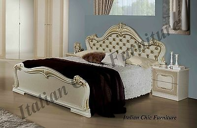 Emily Italian Bed Frame with Luxury Padded Headboard and Crystals Beige/Gold