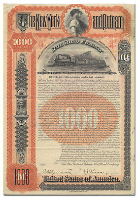 New York and Putnam Railroad Company Bond Certificate