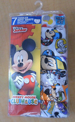 7 Mickey Mouse Briefs Disney Cotton Underwear Toddler Boys 4T NIP White Blue