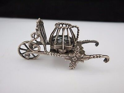 Antique Miniature Dutch Silver Wheel Barrow With Basket Circa 1908 Hallmarked