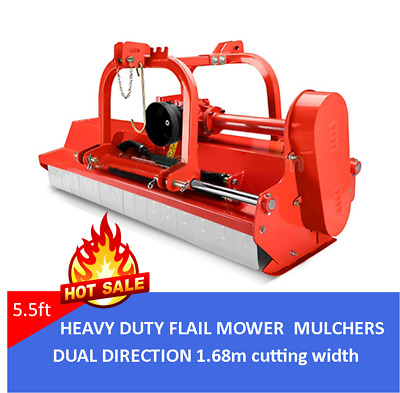 5.5FT TRACTOR FLAIL MOWER 1.68M CUT DUAL DIRECTION HYDRAULIC OFFSET Bush Cutter