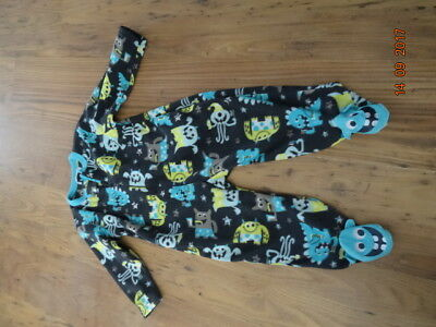 BOYS GREY FLEECE PAJAMA SET WITH MONSTER DESIGN age 18 - 24 months IN VGC