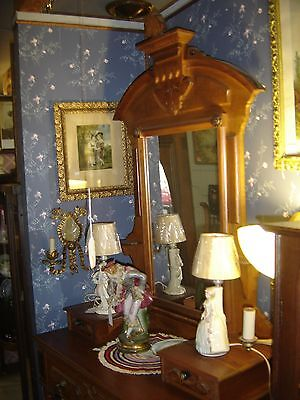 Antique Victorian Walnut Dresser w/ Mirror, Glove Boxes, and Candle Holders 7611