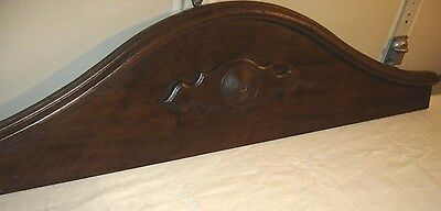 Antique Walnut Pediment w/ Crown Molding & applied Medallion in the center.9019