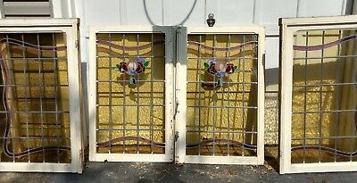 Antique Stained Glass Windows 4 matching pieces rare find