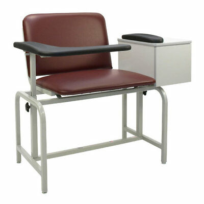 Extra Large Blood Drawing Chair with Drawer Royal Blue IV Pole Left Rear