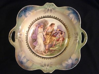Antique Porcelain Bowl SILESIA KSTT - Religious Ancient Scene 24cm Diameter