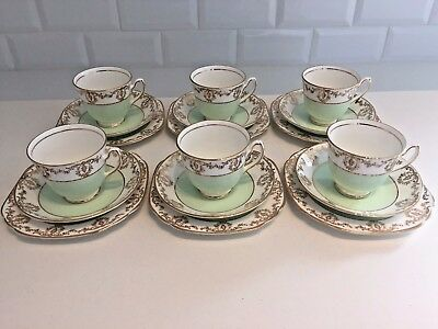 DUCHESS Vintage English Bone China 18-Piece TEA SET Harlequin MINT GREEN GOLD