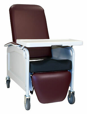 Three Position Lifecare Recliner with Saddle Seat Black IV Pole at Left Rear