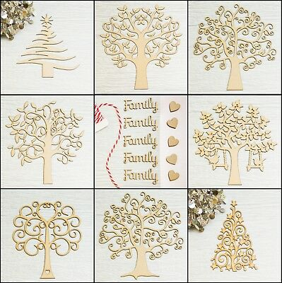 Wooden MDF Tree Shapes blank, Family Tree, Gift, Guestbook, Crafting Heart FF