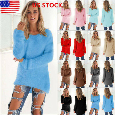 US Women Winter Long Sleeve Loose Knitted Sweater Cardigan Pullover Tops Outwear
