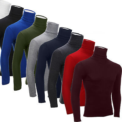Mens Roll Neck Long Sleeve Cotton Top Polo Neck Turtle Neck Winter Shirt Tee New