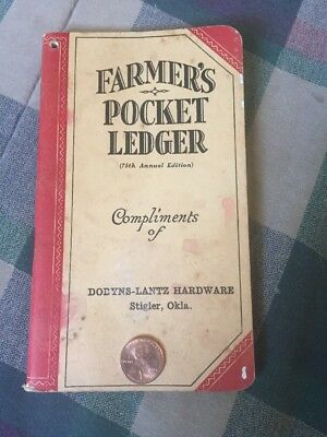 1941-42 John Deere Pocket Ledger Dobyns-Lantz Hardware Stigler Ok. JD Ads WOW