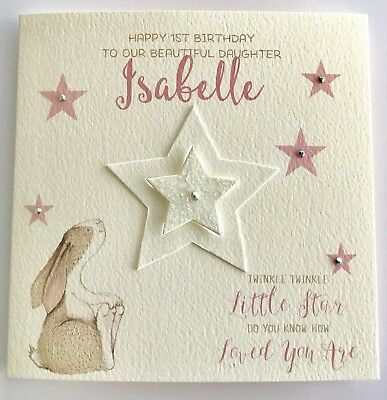 Personalised Watercolour Bunny 1st Birthday Card Daughter Granddaughter 2nd