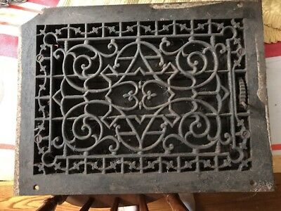 Antique Cast-Iron Floor Or Wall Mount Heating Grate 16 X 12