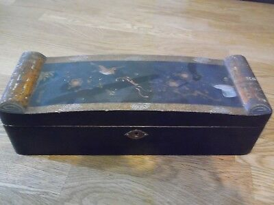 Chinese Laquered Wooden Box, Hand Painted Decor To Lid. Signed