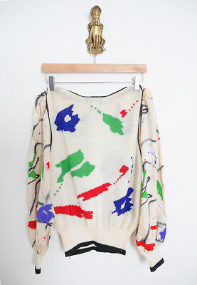 vtg 80s UMI COLLECTIONS x ANNE CRIMMINS color boho knit BLOUSE top bubble sleeve