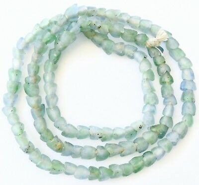 Blue Green multi transparent Ghana flower recycled Glass African trade Beads