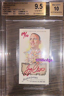 2008 Allen & Ginter Mini Auto Red: Joey Chestnut #9/10 Autograph Hot Dog Eating
