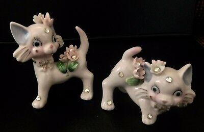 Adorable Pair of Vintage 50s Porcelain Kittens with Floral & Rhinestone Trim