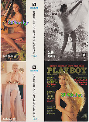 (7) Playboy Playmate 4-Card Uncut Sheet Promo Lot - Collectors Club Members Only