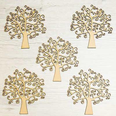 Pack Of 5 Wooden MDF Autumn Family Tree Guestbook Art Craft Wedding Blank Shape