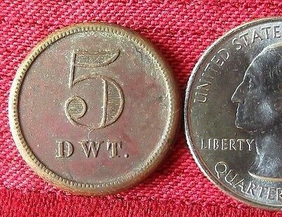 Antique 5-Pennyweights Weight 5 DWT Copper Coin Token