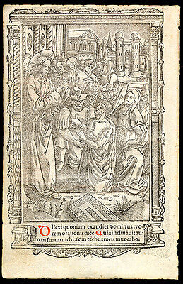 1511 Hardouyn Book of Hours Leaf Miniature Raising Lazarus Office of The Dead