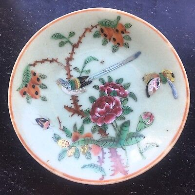 Antique Oriental Pottery Hand Painted Plate. Blue Marks to Base