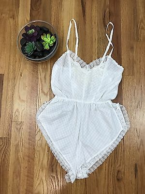 VTG Blush White Cotton Teddy Prairie Lingerie Lace Embroidery M Snap Crotch AI