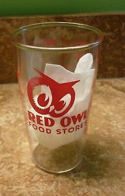 #2 Vintage Red Owl Food Store Glass Tumbler Measuring Cup