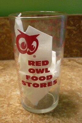 #1 Vintage Red Owl Food Store Glass Tumbler Measuring Cup