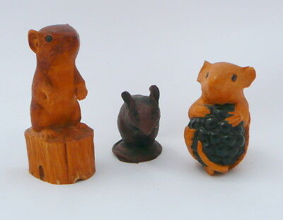 3 Antique Plastic or Bakelite Mice Figurine - Unknown Marked Mouse Hand Made